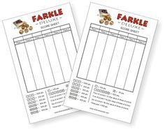Free Farkle Score Sheet  Laminate And Pass Out With Farkle Game