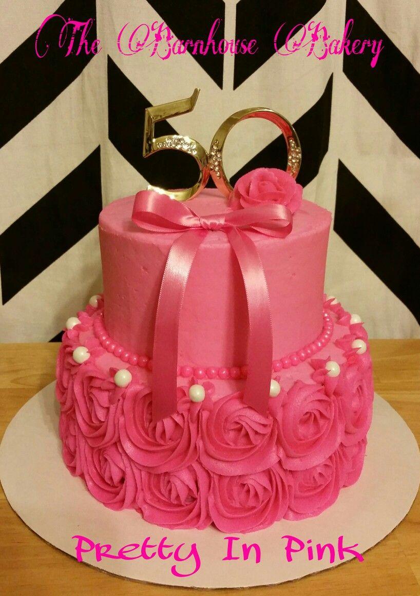 50th Birthday Cake Pink Swirls Roses Ribbons My Cakes Pinterest