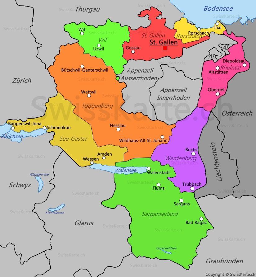 Karte Kanton St Gallen map karte carte mappa Pinterest