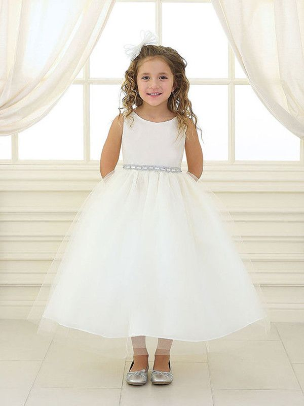 fa8b7aeac Cute Ankle Length Sparkly Sash Flower Girl Dresses