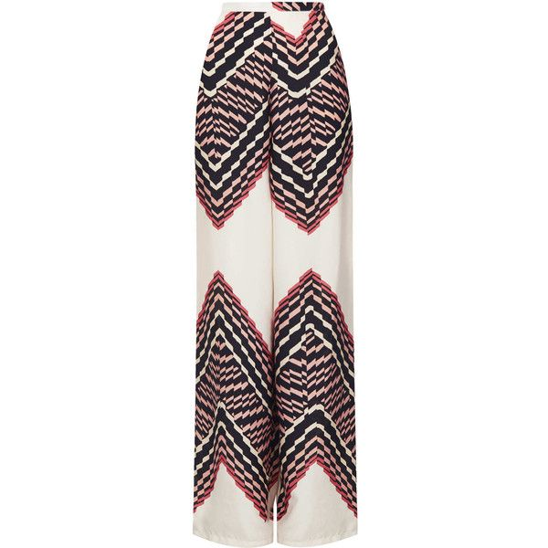 TOPSHOP Tall Zig Zag Wide Leg Trousers (110 BRL) ❤ liked on Polyvore featuring pants, skirts, trousers, bottoms, jeans, rust, topshop, rust pants, tall pants and topshop pants