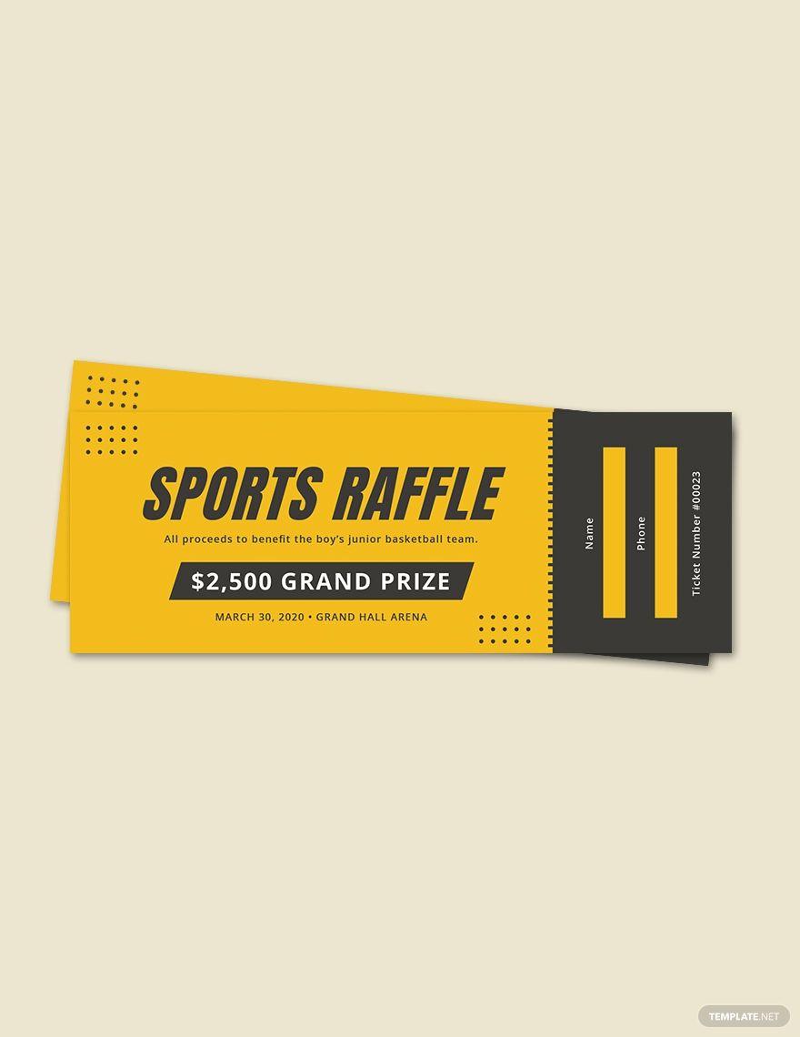 Free Sample Sports Raffle Ticket In 2020 Raffle Tickets Template Raffle Tickets Ticket Template