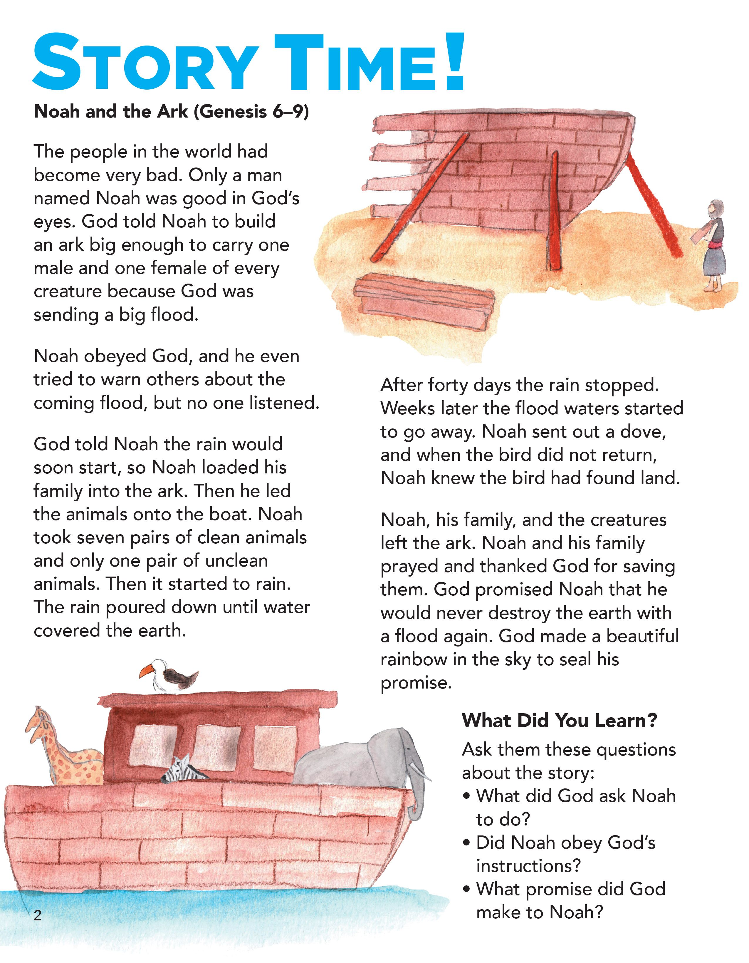 Noah S Ark Preschool Bible Lessons Easy Kids Bible Story