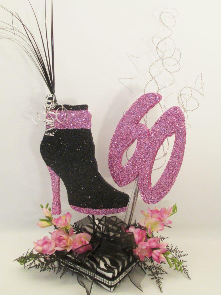Shoe boot zebra centerpiece high heel