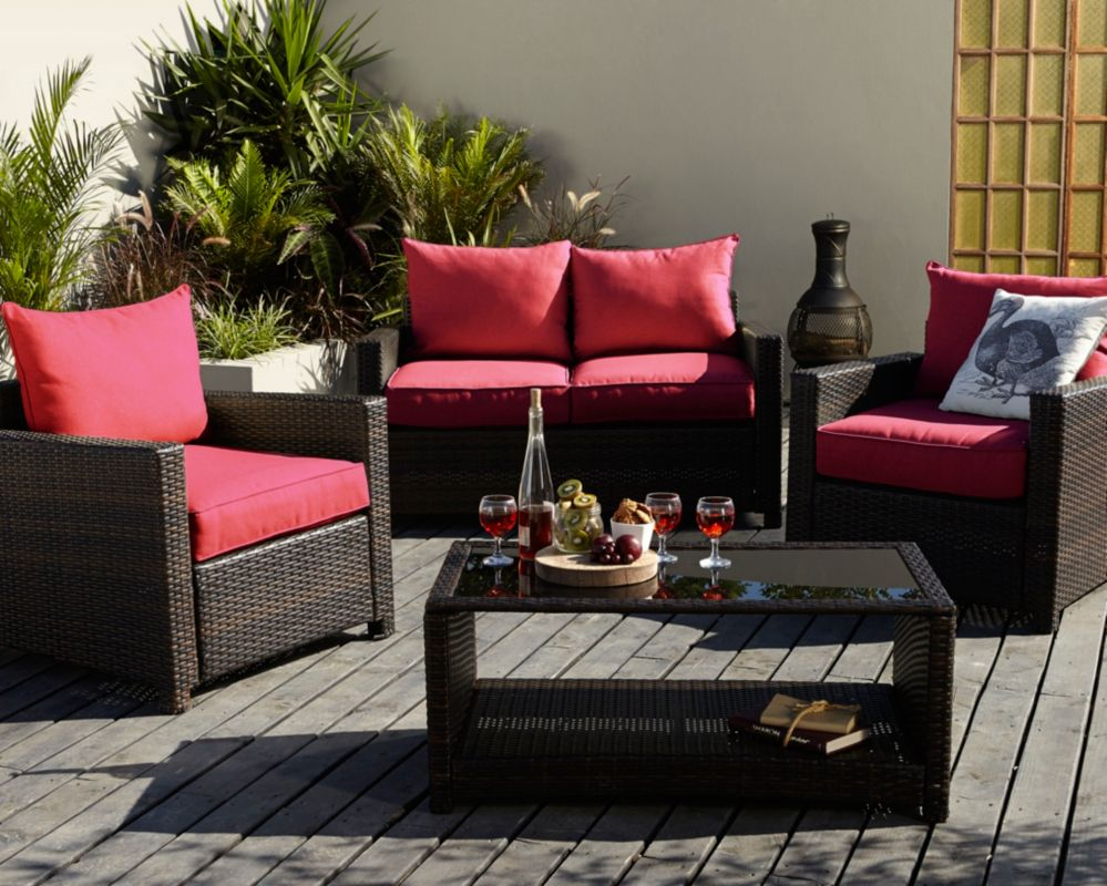 George Home Jakarta Deluxe Conversation Sofa Set in Chilli Red - 8