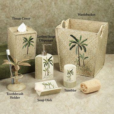 Beau Fiji II Palm Tree Tropical Bath Accessories By Croscill