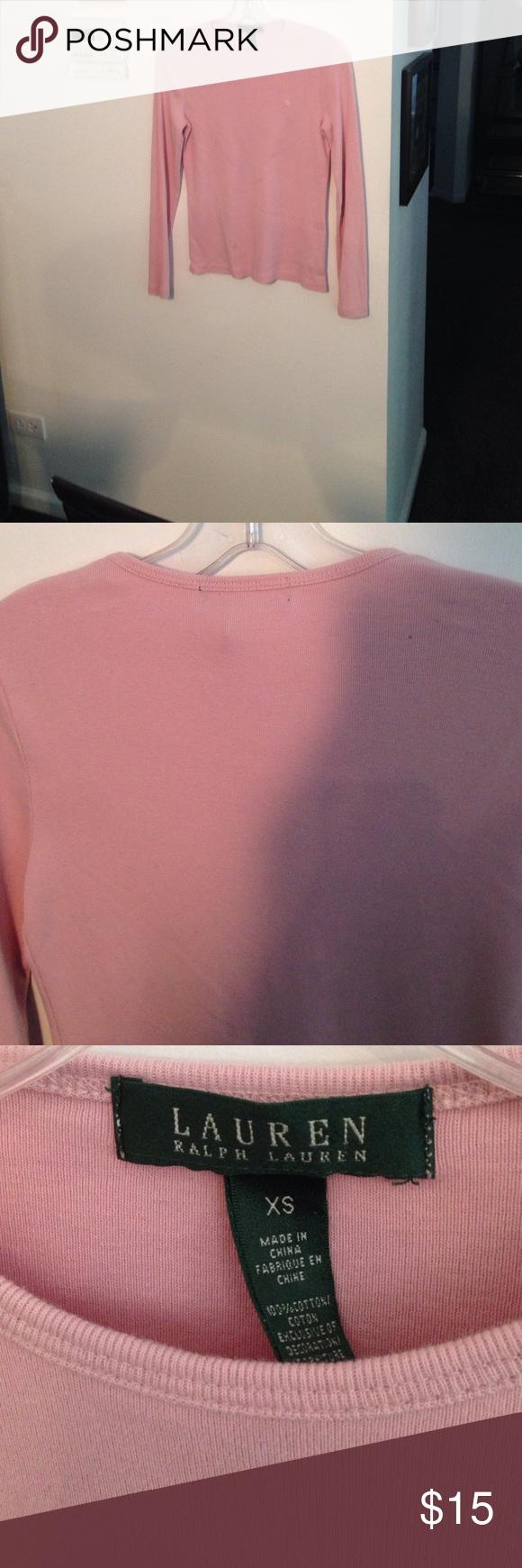 Ralph Lauren Long sleeve T soft pink logo front Excellent ...