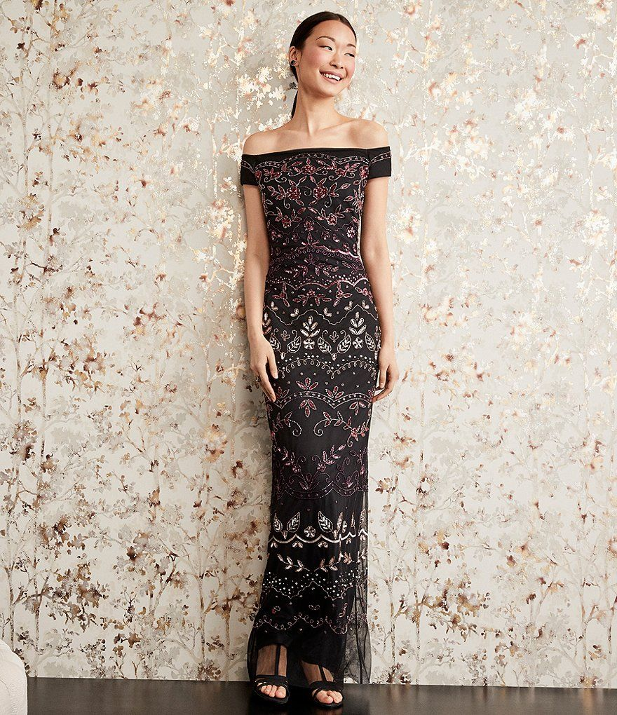 Adrianna Papell Off The Shoulder Beaded Gown In 2018 I Do