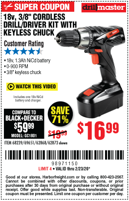 Drill Master 18v 3 8 In Cordless Drill Driver Kit With Keyless Chuck 21 Clutch Settings For 16 99