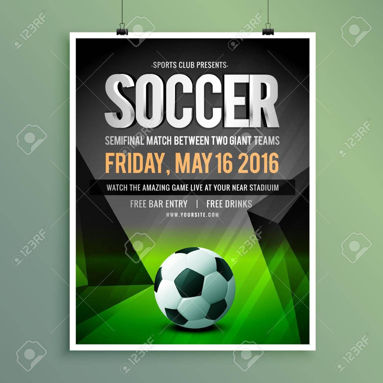 Soccer Game Flyer Template Design Illustration