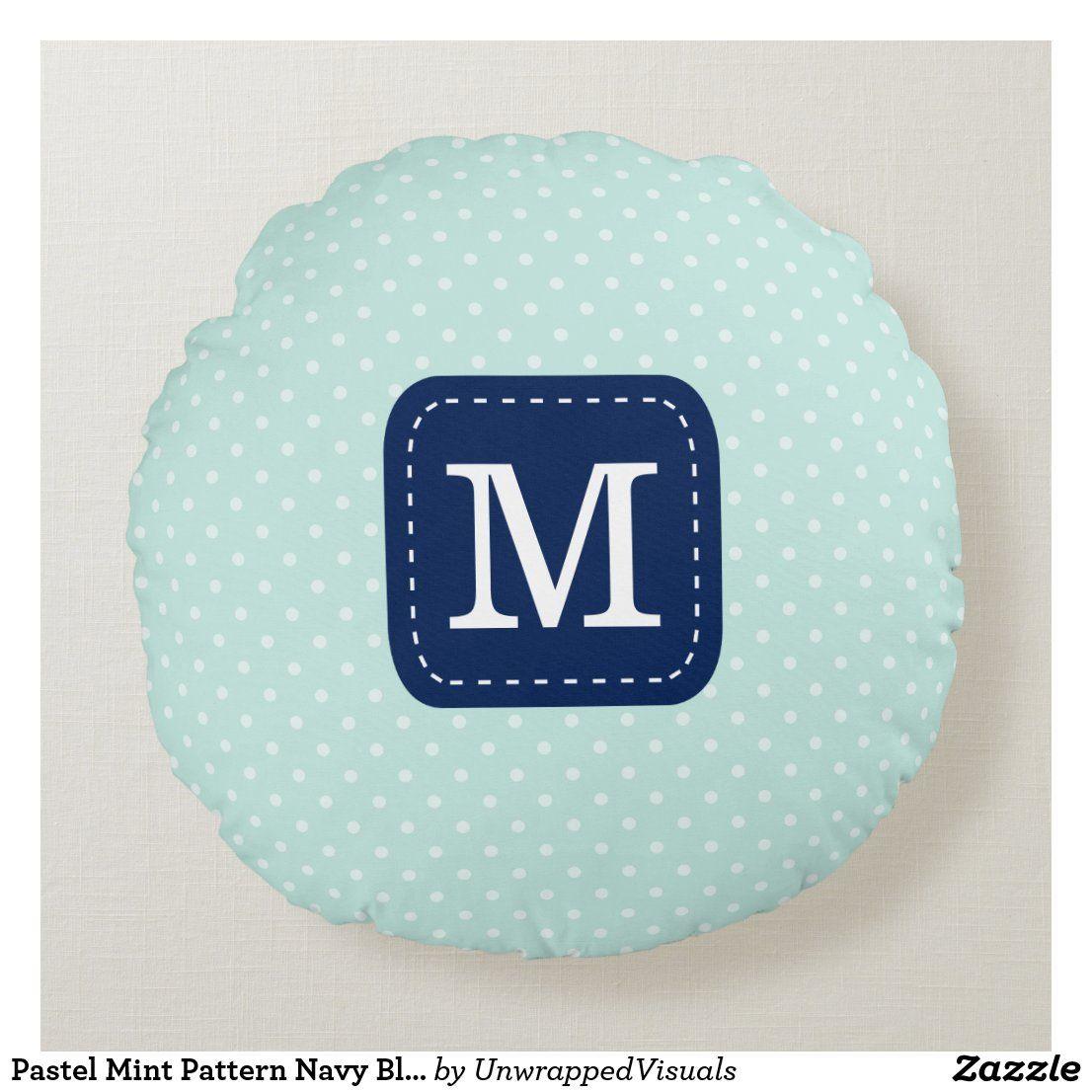 Pastel Mint Pattern Navy Blue Custom Monogram Round Pillow | Zazzle.com