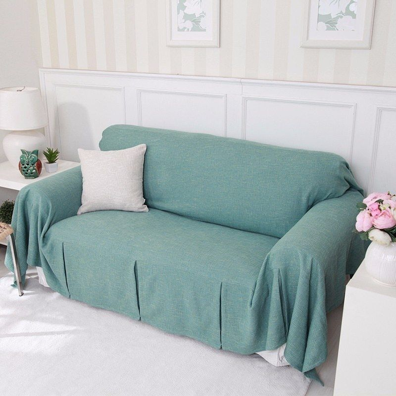 Single Two Three Four Seater Solid Sofa Cover Cotton Slip