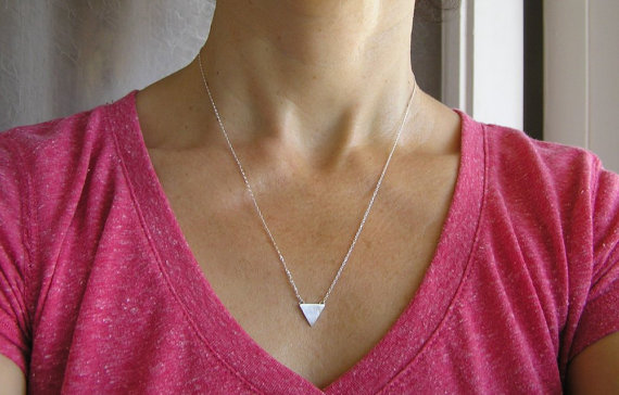 Simple and pretty.   Triangle Necklace Pendant Geometric Jewelry by DaliaShamirJewelry
