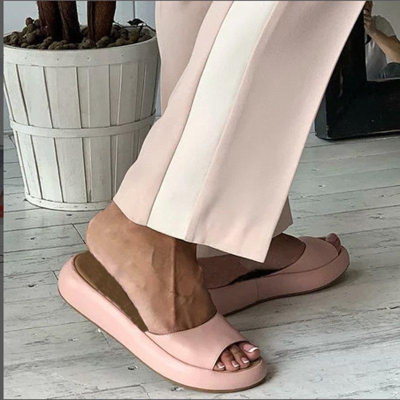 Women's Fashion Footbed Peep Toe Slip On Slide Sandals in