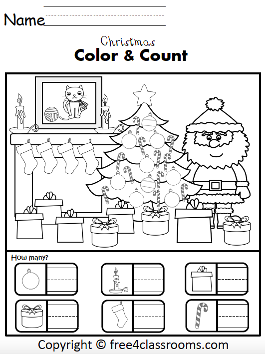 Free Christmas Numbers Math Worksheets For Kindergarten How Many Free4classrooms Christmas Math Worksheets Christmas Kindergarten Christmas Math
