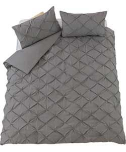 Heart of House Caesar Grey Pintuck Bedding Set - Double.