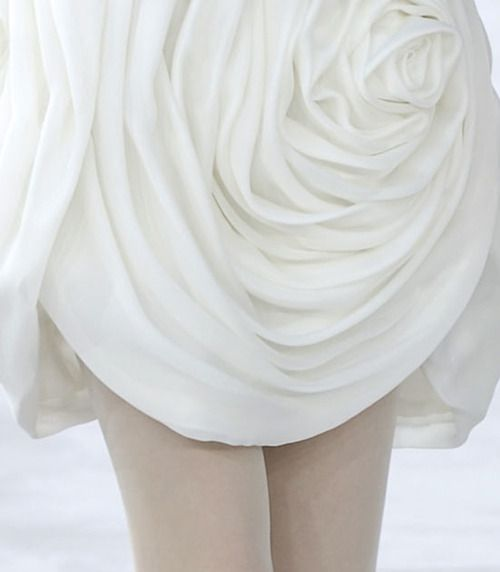 Sculptural Rose Dress using fabric manipulation to create a layered petal structure; couture sewing inspiration // Chanel