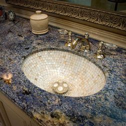 Mother Of Pearl Tiles Traditional Bathroom Blue Granite