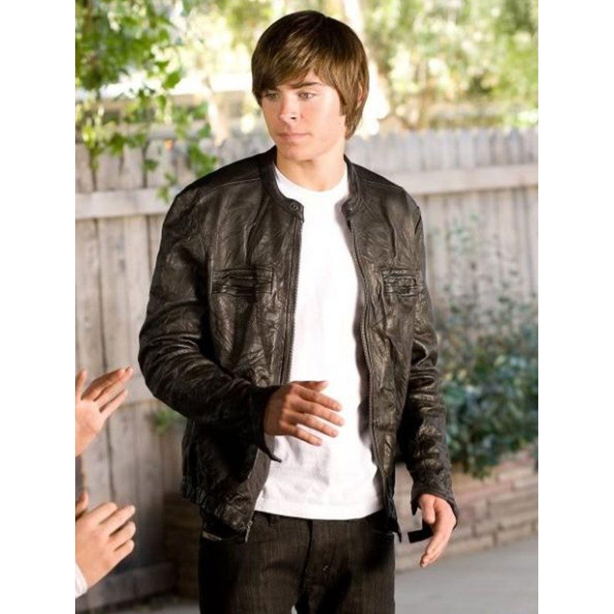 17 AGAIN ZAC EFRON BLACK LEATHER JACKET Leather jacket