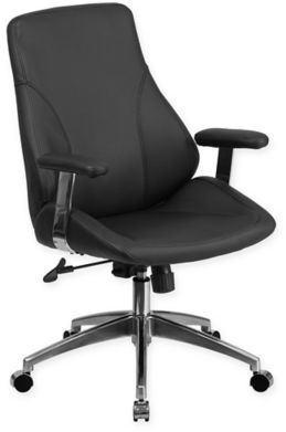Flash Furniture 44 25 Inch Mid Back Leather Office Chair In Black
