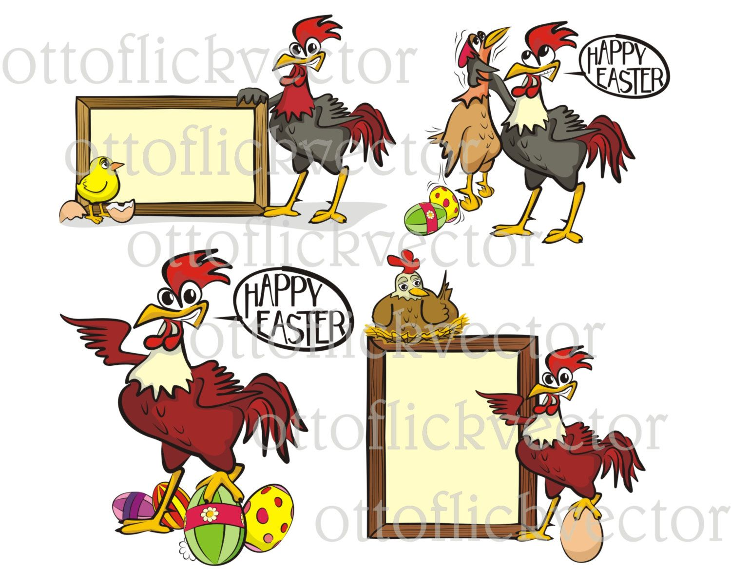HAPPY EASTER VECTOR clipart, chicken, hen, chick rooster cartoons ...