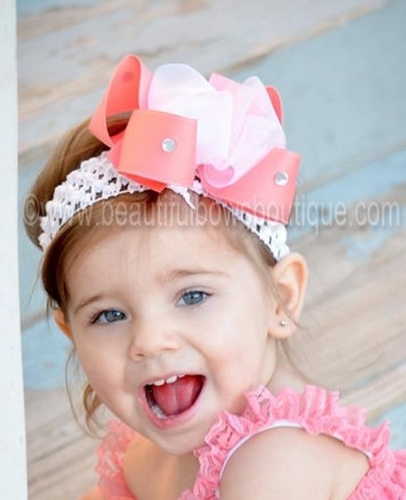 Coral Baby Headband Coral Headband Infant Headband Newborn Headband Floral Headband Baby Hair Bow Baby Girl Headband Baby Headband