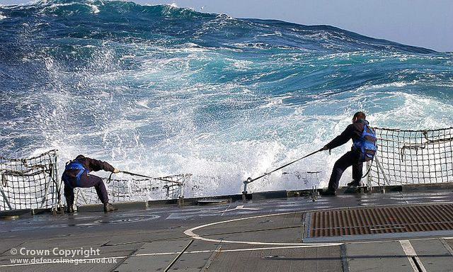Sailors Struggling To Lift Safety Netting In Rough Seas Type 23 Frigate Rough Seas Waves