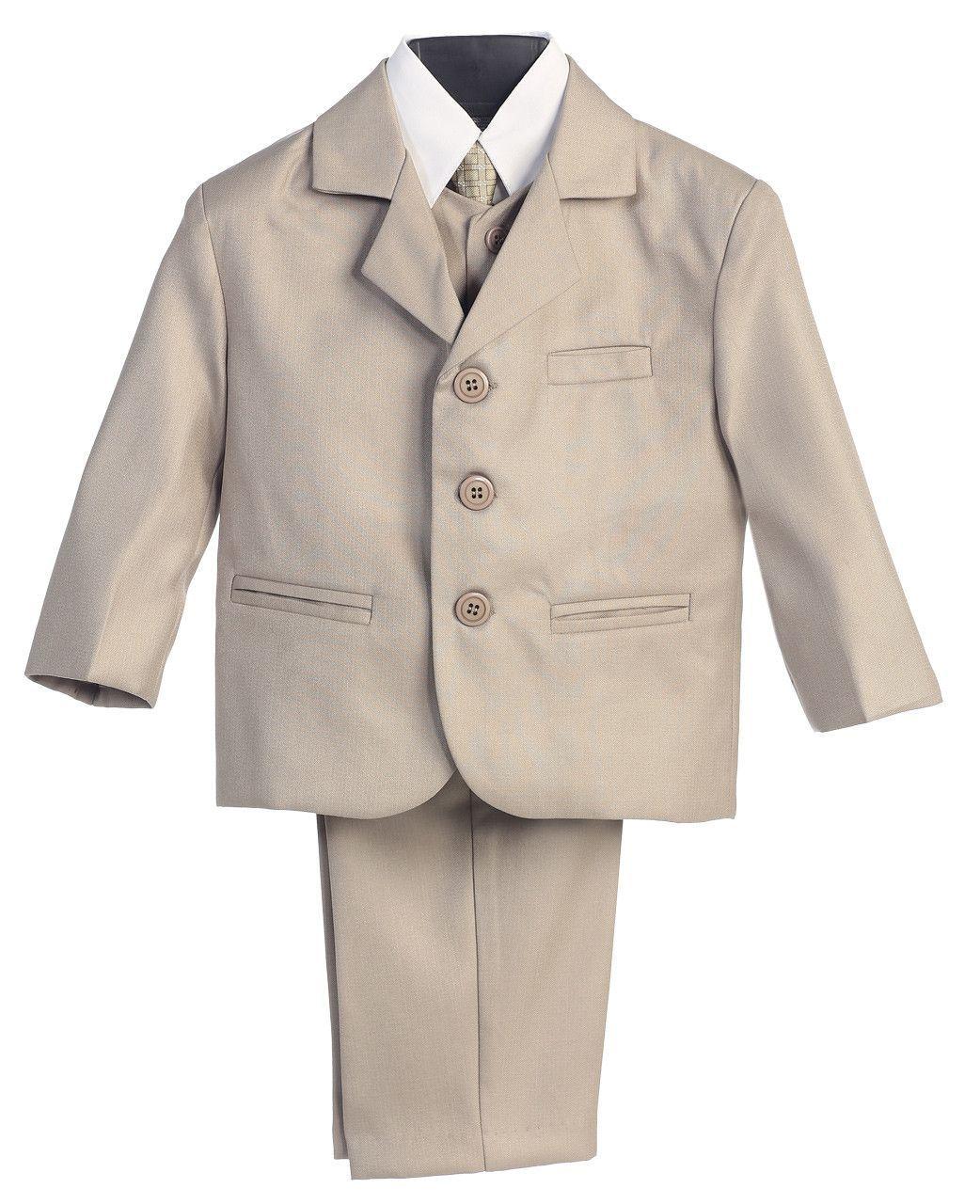 Vest 5 Piece Khaki Suit with Shirt and Tie