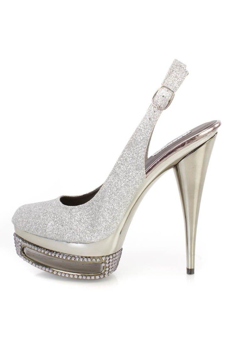 26b509bb50b Silver Rhinestone Slingback Platform 6 Inch High Heels Glitter in ...