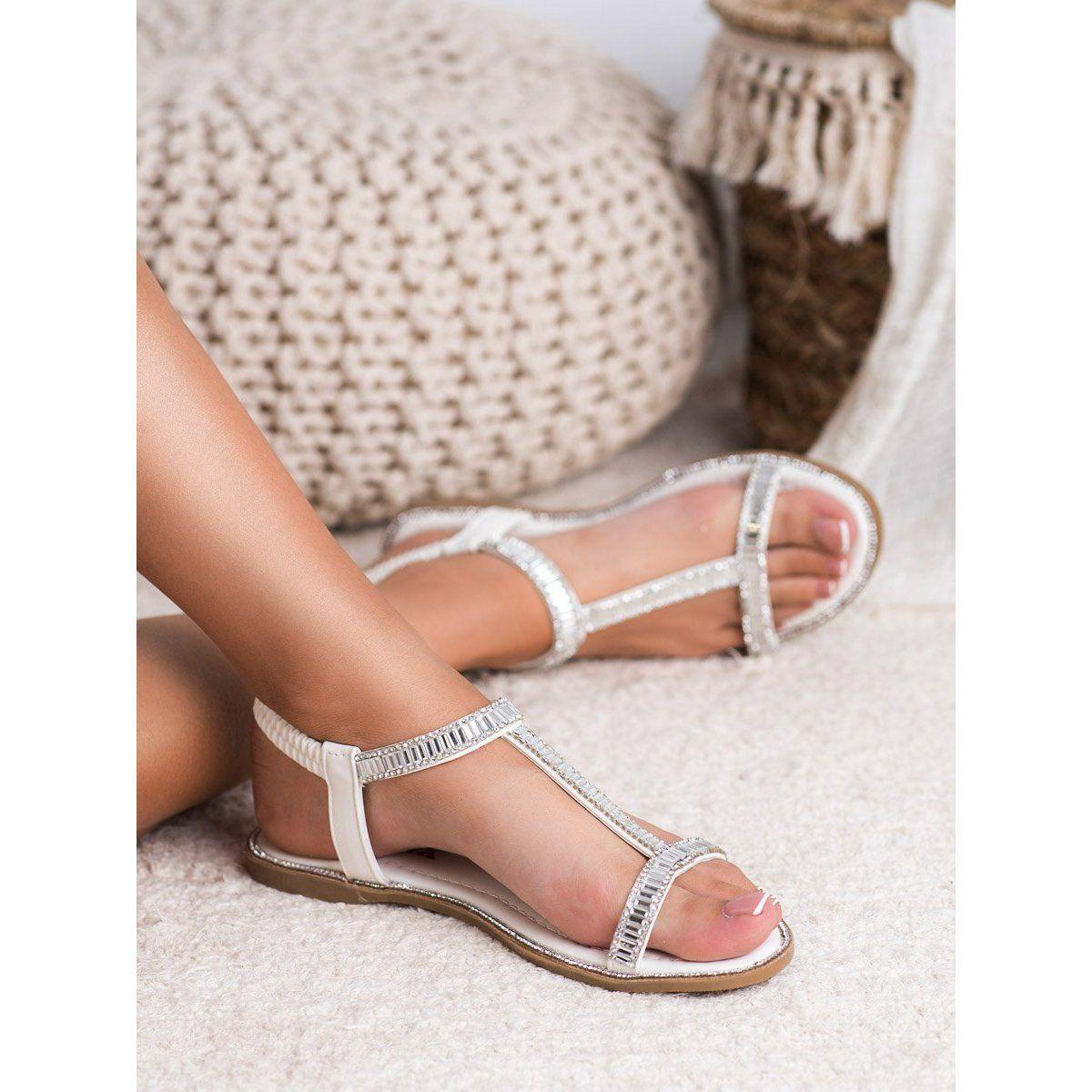 Shelovet Plaskie Sandalki Z Krysztalkami Biale Shoes Espadrilles Sandal Espadrille