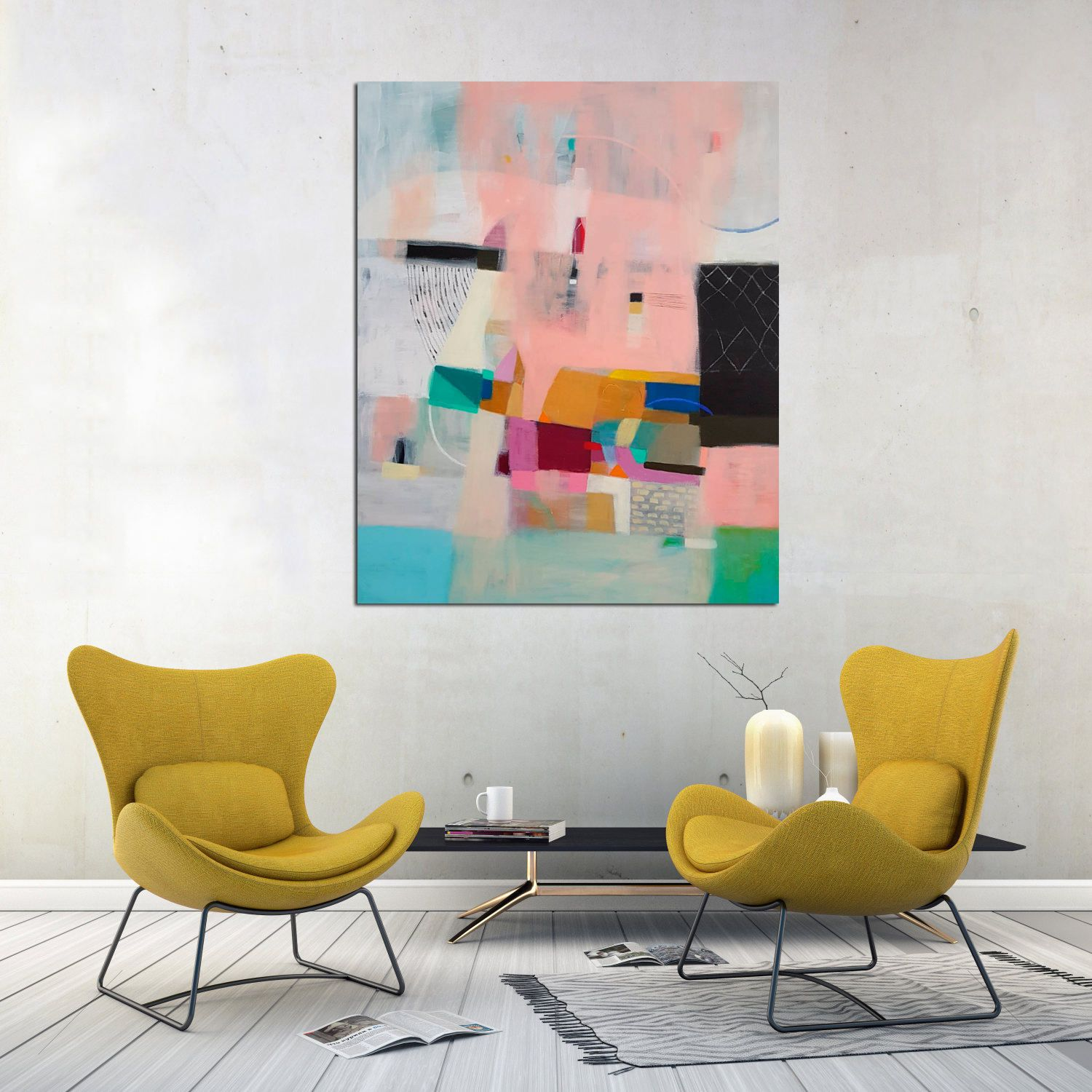 Original geometric acrylic abstract painting black and pink large modern wall art vertical colorful decor also home rh pinterest