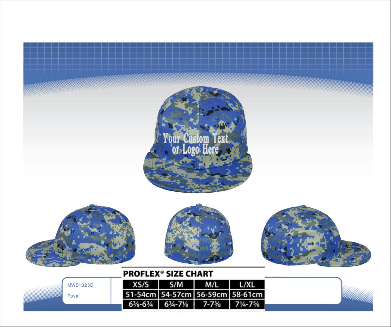 3cc81277b2545 Custom Text or Logo Embroidered On Pro Flex Fit Flatbill Bill Hat  Performance Q3® Fabric. Digital Camo Hat. Digital Camo Flex Hat.