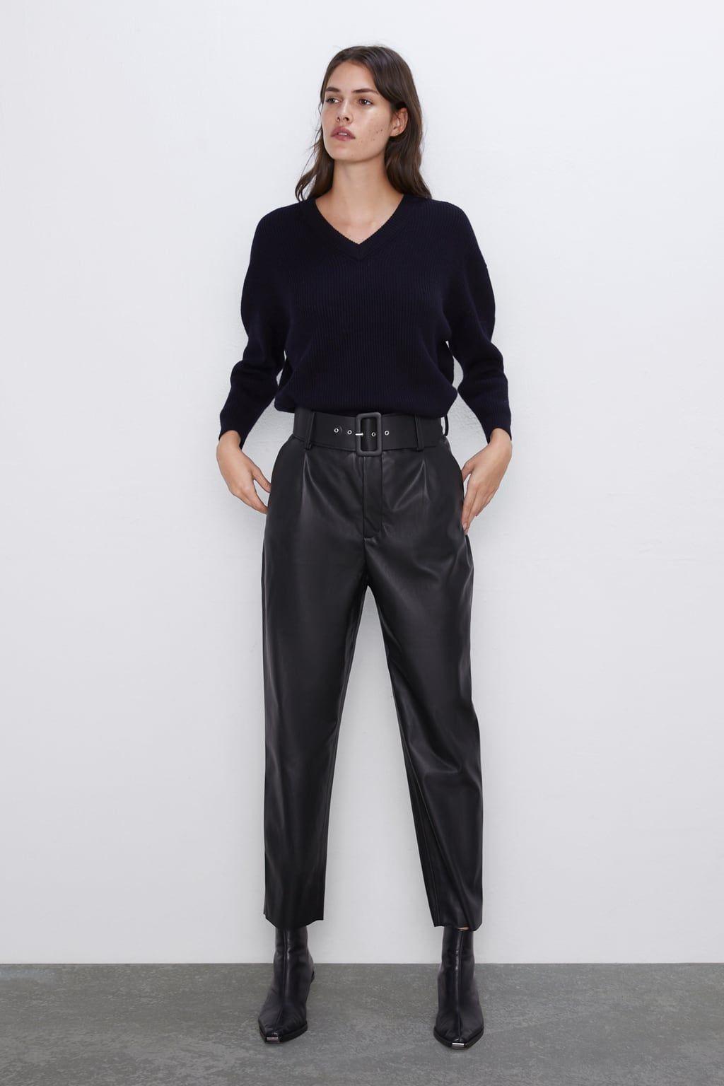 Gnojivo More Veslo Pantalones Efecto Cuero Zara Goldstandardsounds Com