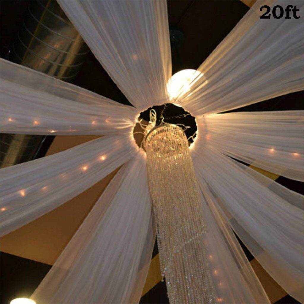 Diy Drapes For Wedding: 20Ft White Ceiling Drapes Sheer Curtain Panels Fire