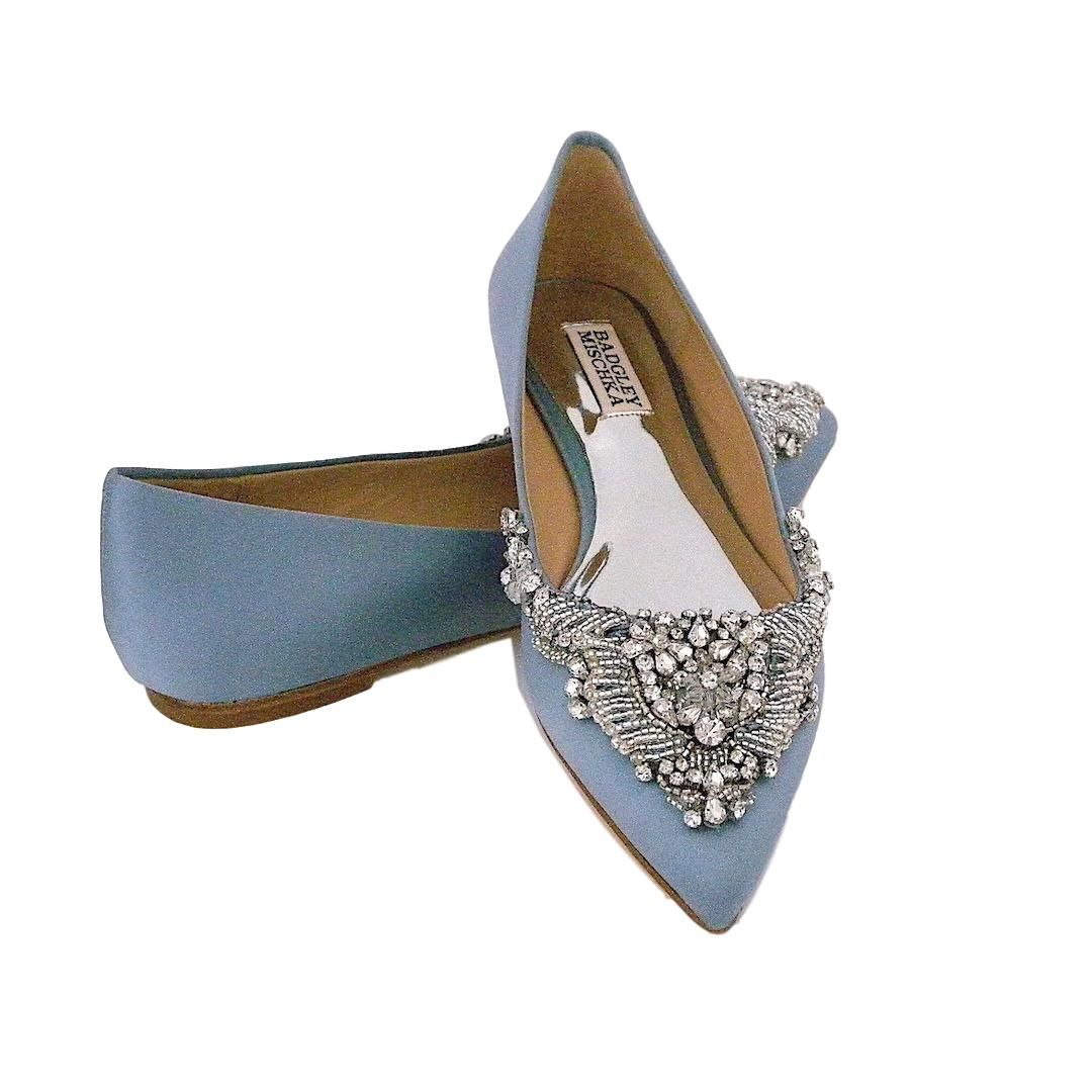 Badgley Mischka Malena Beaded Flats, Cloudy Blue. Bridal FlatsWedding ShoesSilk  ...