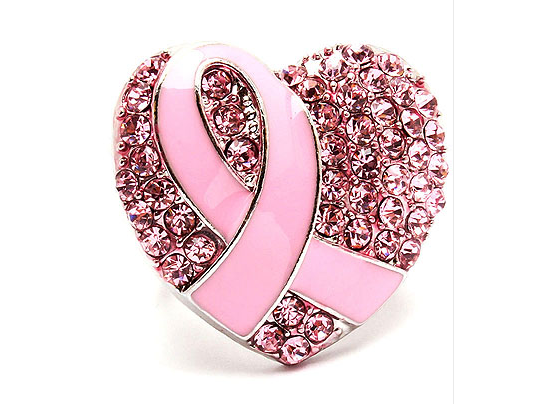 Heart shaped ring promoting breast cancer awareness.
