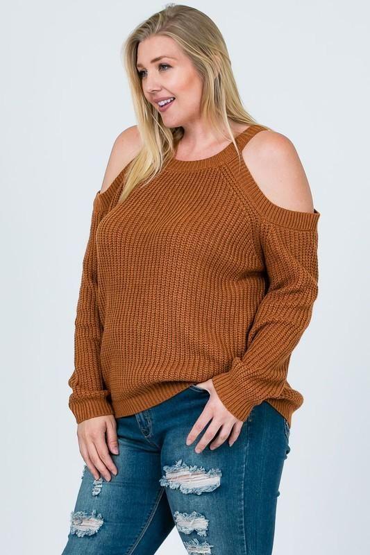 3ecbe7b0dc Plus Size Cold Shoulder Sweater - Online Clothing Boutique