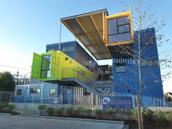 32 contenedores apilados para oficinas oficinas islas y - Arquitectura contenedores maritimos ...