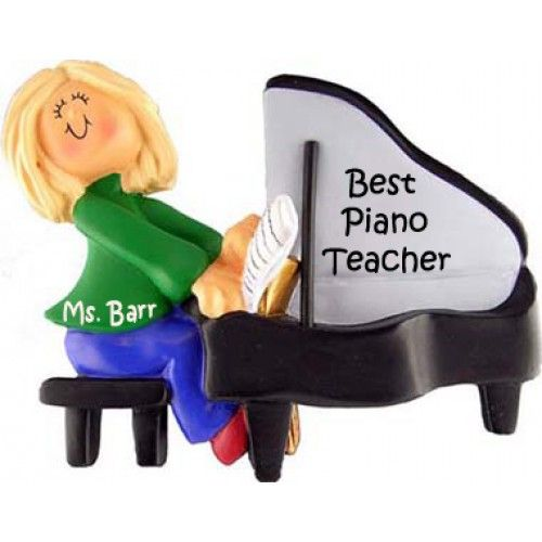 Piano Player Female, Blonde Personalized Ornament This ornament and