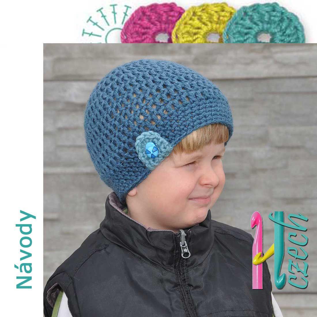 14b0a502913 Háčkovaná čepice knoflíček Návod na výrobu háčkované čepice pro děti.  Několik velikostí.