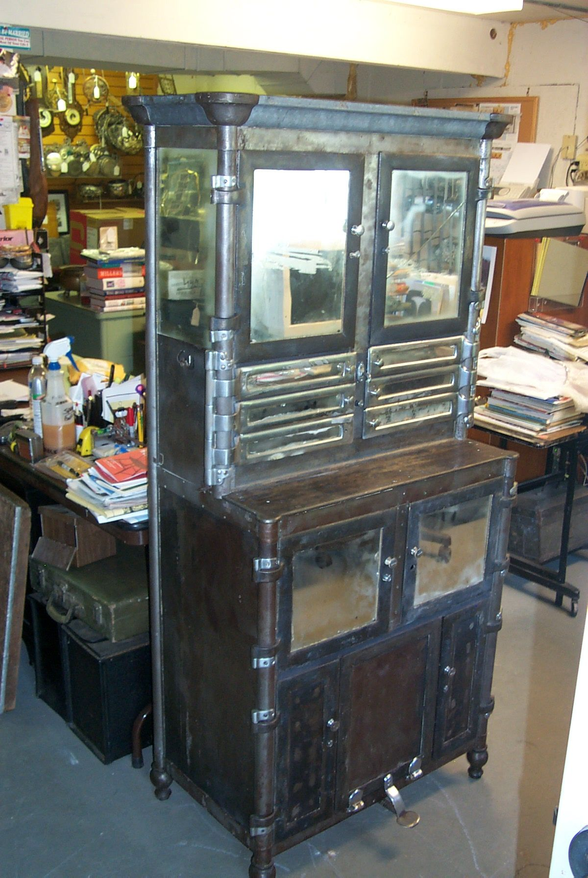 Antique Metal Dental Cabinet Early To Mid Century Industrial Metal Dental Cabinet Antiques