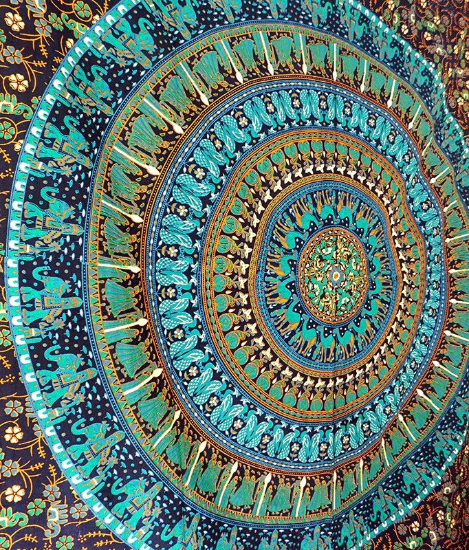 SMALL Blue Mandala Tapestry Wall hanging, Bohemian Hippie Tapestries, Indian Bedspread Bedding Throw, Hippy Boho Ethnic Home Decor by rangRaizzi on Etsy
