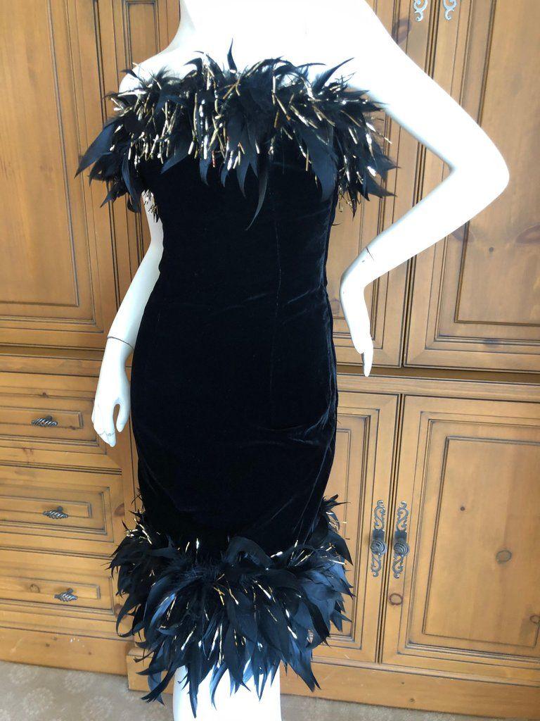 Yves Saint Laurent Rive Gauche Vintage Black Velvet Feather Trim Cocktail Dress Velvet Cocktail Dress Cocktail Dress Vintage Black [ 1024 x 768 Pixel ]