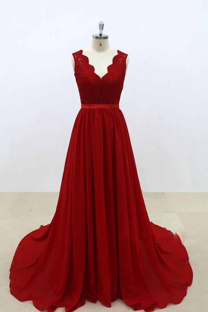 Burgundy v neck lace chiffon long prom dress burgundy bridesmaid