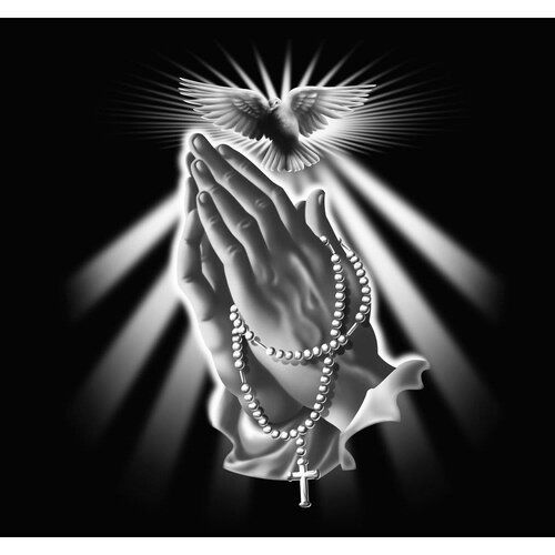 East Urban Home Grafikdruck Praying Hands With Rosary Beads And Dove | Wayfair.de
