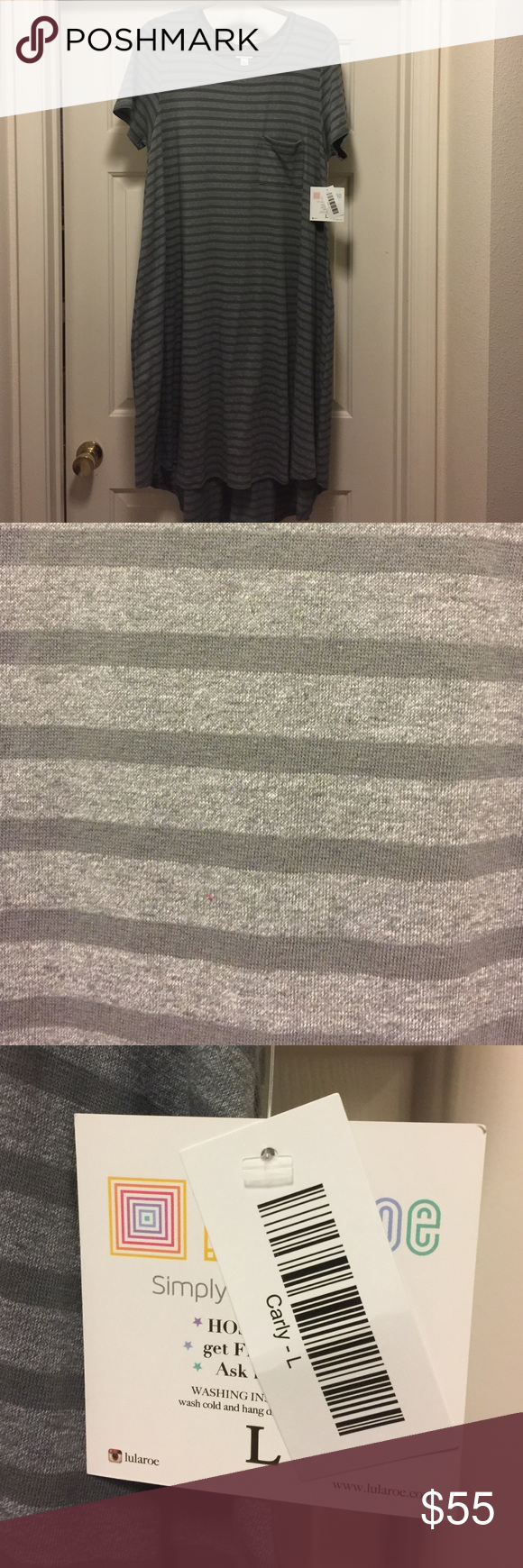 LuLaRoe Carly NWT LuLaRoe lighter grey with darker grey stripes.  Soft T-Shirt type material. Size Large. LuLaRoe Dresses High Low