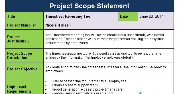 project scope statement template in 2020  statement