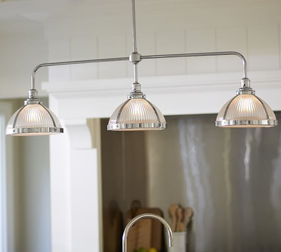Kitchen Island Ribbed Glass Triple Pendant Pottery Barn Lighting - Kitchen triple pendant lighting