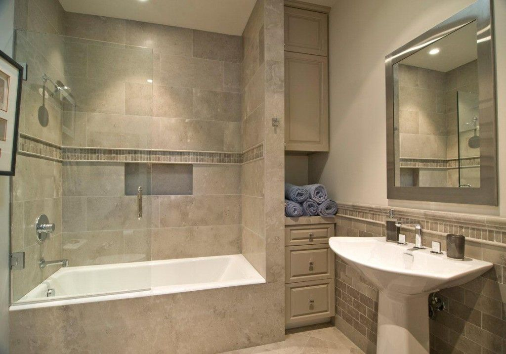 Tile Combo Shower and Tub Design For Small Modern Bathroom No Vanity ...
