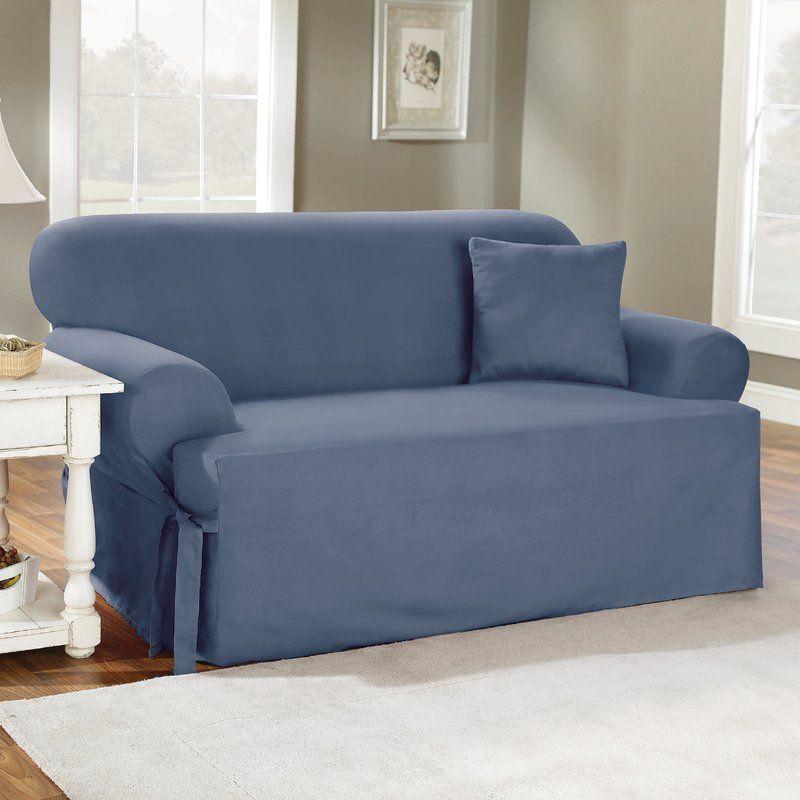 Cotton Duck T Cushion Sofa Slipcover Cushions On Sofa Slipcovers Slipcovers For Chairs